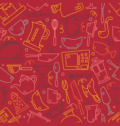 seamless pattern with kitchen appliances in lines vector image