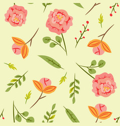 seamless pattern with leaves and pink roses vector image