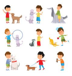 set boys playing walking and training dogs vector image