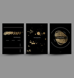 Set of banners with gold texture decoration on the vector