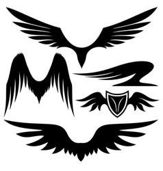 Set of black wings vector