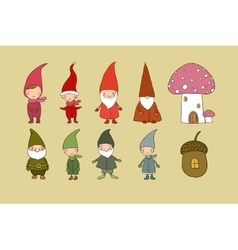 Set of cute cartoon gnomes Funny elves Hand vector image