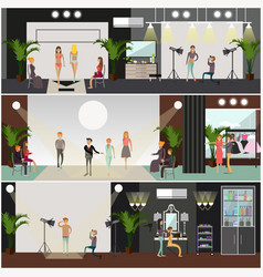 set of fashion posters banners in flat vector image