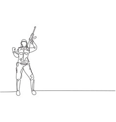 single one line drawing female soldier stands vector image