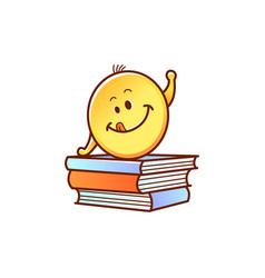 Smiley schoolchild on pile of books pulling hand vector