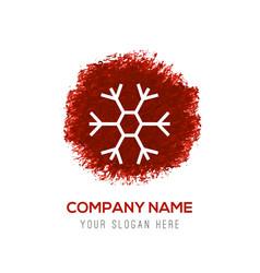 snow flake icon - red watercolor circle splash vector image