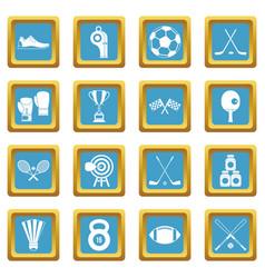 sport equipment icons azure vector image
