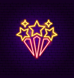 star fireworks neon sign vector image
