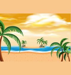 summer beach landscape sunset vector image