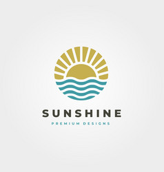 sun and waves icon logo symbol design sun vintage vector image