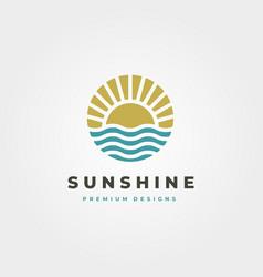 Sun and waves icon logo symbol design vintage vector