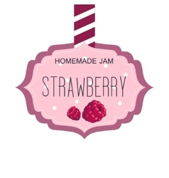 Sweet Strawberry Jam Pink Template Label With vector