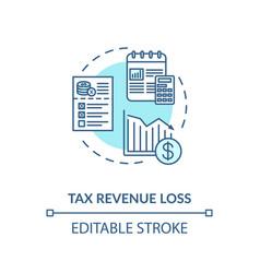 Tax revenue loss turquoise concept icon vector