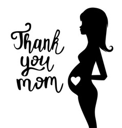 thank you mom text vector image