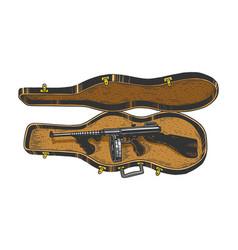 thompson gun violin case sketch engraving vector image