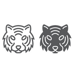 Tiger line and glyph icon animal and zoo vector