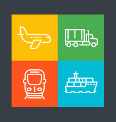 Transportation industry line icons vector