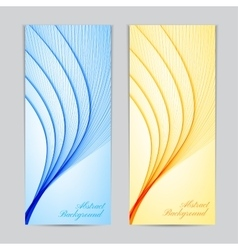 two colorful banners with curved lines vector image