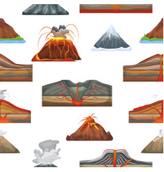 volcano eruption and volcanism or explosion vector image