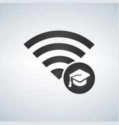 wifi connection signal icon with graduation cap vector image