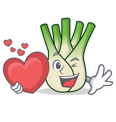 With heart fennel mascot cartoon style vector