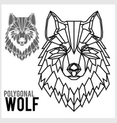 Wolf head in polygonal style polygonal animals vector