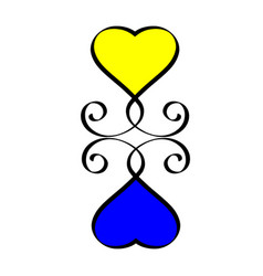 yellow and blue heart love hand drawn sign hearts vector image