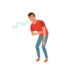 Young man laughing out loud holding his stomach vector