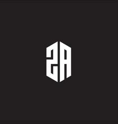Za logo monogram with hexagon shape style design vector