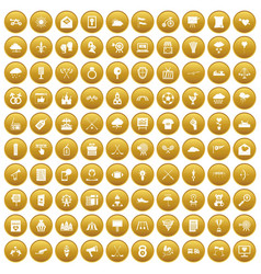 100 arrow icons set gold vector image