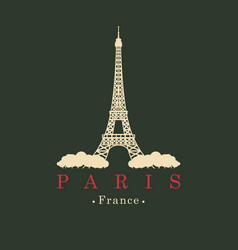 banner with eiffel tower in paris france vector image