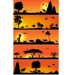 banners with wold fauna and flora vector image vector image