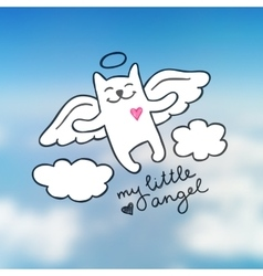hand drawn cat angel vector image