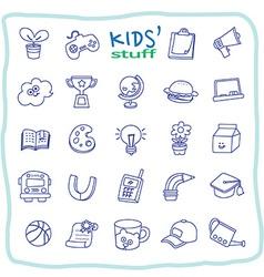 Kid stuff line icons vector image vector image