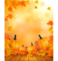 Nature background with autumn leaves and wooden vector image