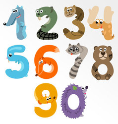 Numbers like European Forest Animals vector image vector image