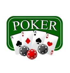 Poker emblem with cards and casino chips vector image