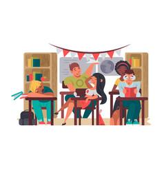 pupils sit in classroom at desks vector image