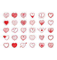 red heart doodles collection vector image vector image