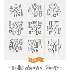 Set of Hand drawn different fonts for a headlines vector image