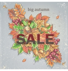 Texture autumn theme with isolated elements vector image