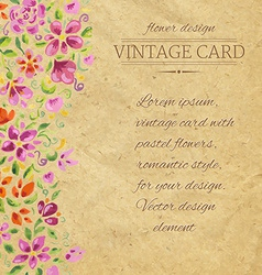 Vintage Card With Watercolor Flowers vector image vector image