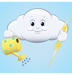 Cloud with watering and lightning vector image