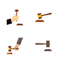 Flat icon hammer set of hammer crime legal and vector