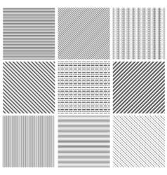 Geometric line pattern set Parallel streep black vector image