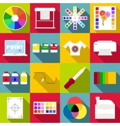 Print items icons set flat style vector image