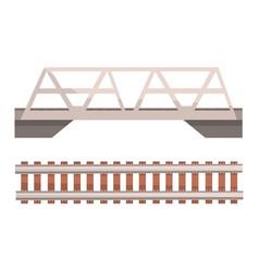 railway bridge and railroad rail section vector image