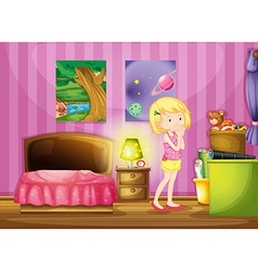A girl wishing inside her room vector image vector image