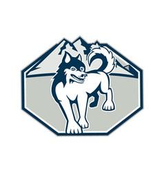 Siberian Husky Dog Mountain Retro vector image vector image