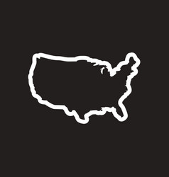 stylish black and white icon map of usa vector image vector image